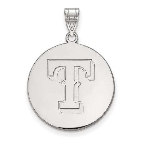 Sterling Silver 3/4in Texas Rangers Disc Pendant