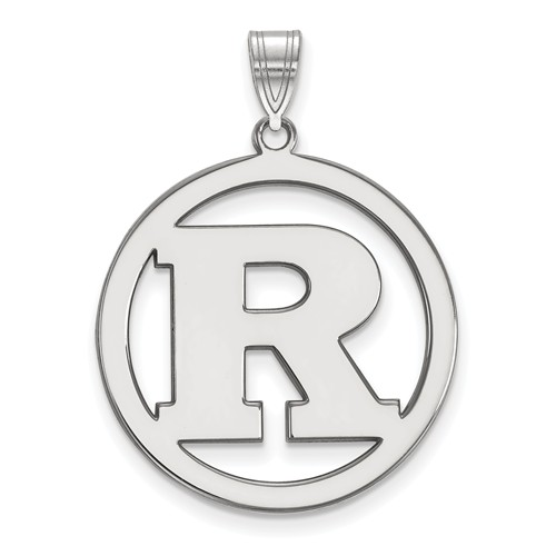 Sterling Silver Rutgers University Circle Pendant 1in