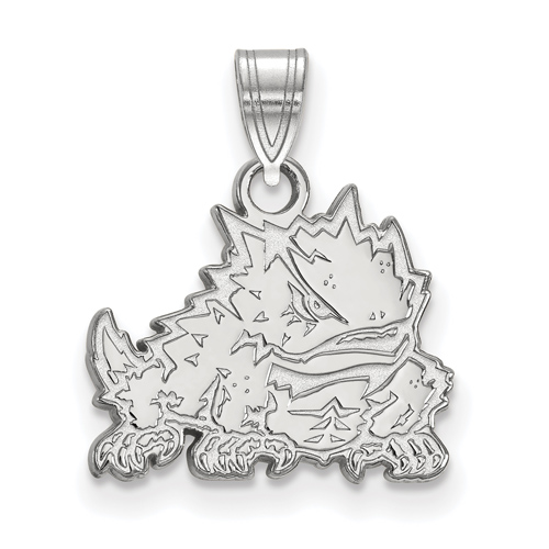 Sterling Silver 1/2in Texas Christian University Horned Frog Pendant