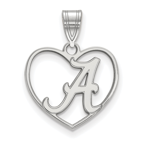 Sterling Silver 5/8in University of Alabama Pendant in Heart