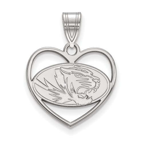 Sterling Silver 5/8in University of Missouri Pendant in Heart