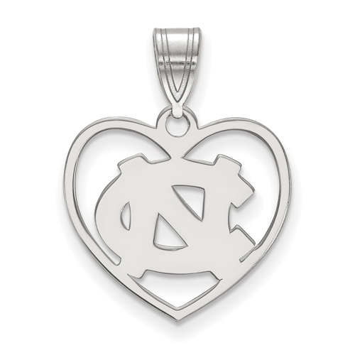 Sterling Silver 5/8in University of North Carolina Pendant in Heart