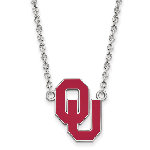 Sterling Silver University of Oklahoma OU Enamel Pendant with 18in Chain