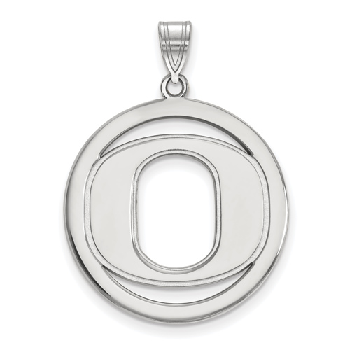 Sterling Silver 1in University of Oregon Logo Pendant in Circle