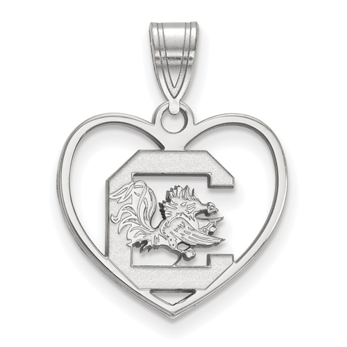 Sterling Silver 5/8in University of South Carolina Heart Pendant
