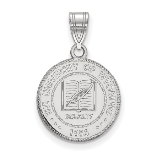 Sterling Silver 5/8in University of Wyoming Crest Pendant