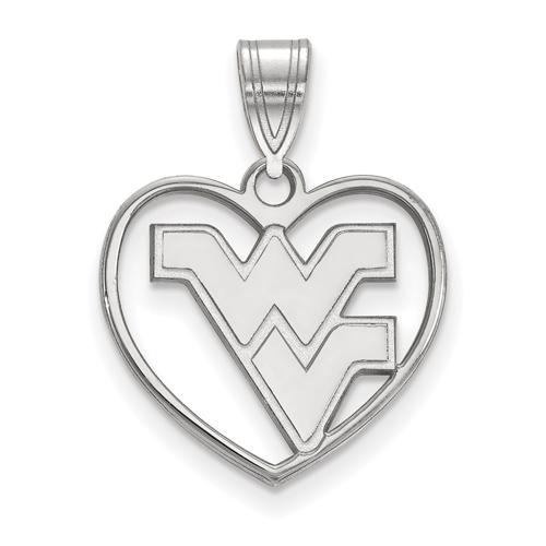 Sterling Silver 5/8in West Virginia University WV Pendant in Heart