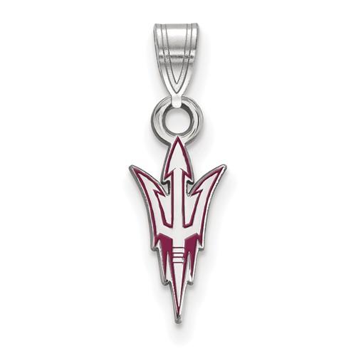 Arizona State Univ. Enamel Pitchfork Pendant 1/2in Sterling Silver