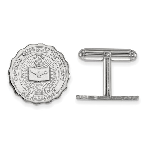 Central Michigan University Crest Cuff Links Sterling Silver
