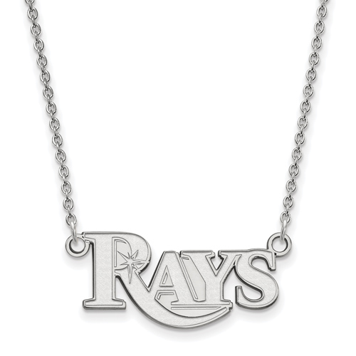 14k White Gold 3/8in Tampa Bay Rays Pendant on 18in Chain