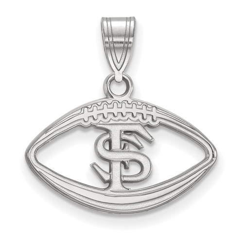 Sterling Silver 1/2in Florida State University Football Pendant
