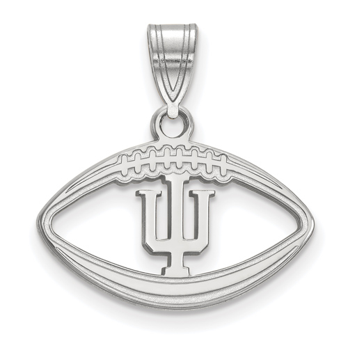 Sterling Silver 3/4in Indiana University Football Pendant