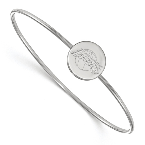 Sterling Silver Los Angeles Lakers Disc Wire Bangle Bracelet