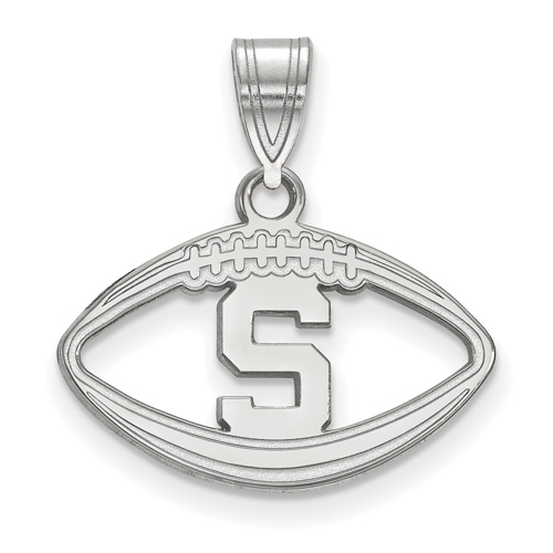 Sterling Silver 3/4in Michigan State University Block S Football Pendant