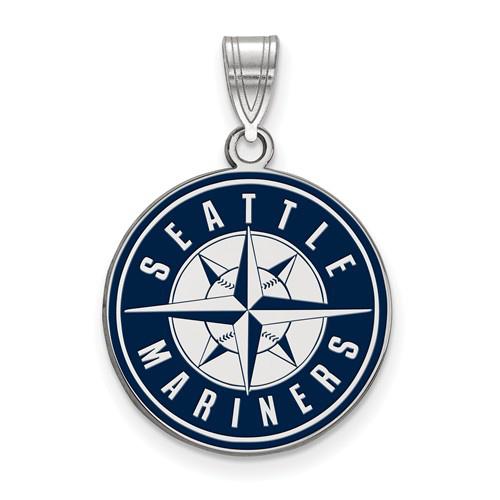 Sterling Silver 3/4in Seattle Mariners Enamel Pendant