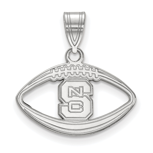 Sterling Silver 3/4in North Carolina State University Football Pendant