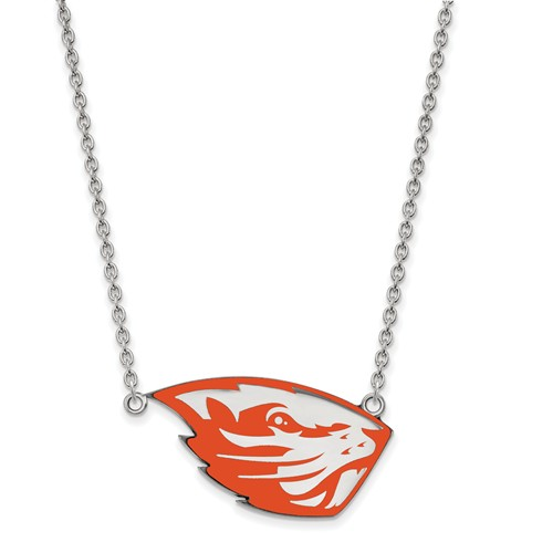 Silver Oregon State University OSU Enamel Pendant with 18in Chain