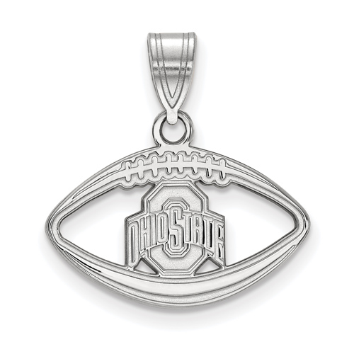 Sterling Silver 1/2in Ohio State University Football Pendant