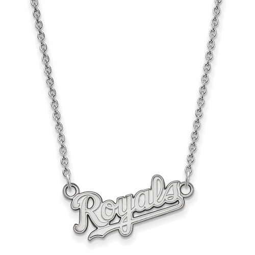 Sterling Silver 3/8in Kansas City Royals Pendant on 18in Chain