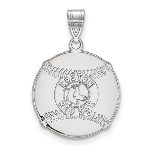 Sterling Silver 3/4in Boston Red Sox Logo Baseball Pendant