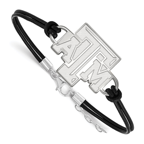Sterling Silver 7in Texas A&M University Leather Bracelet with Large Center