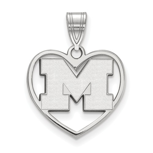 Sterling Silver 5/8in University of Michigan Pendant in Heart
