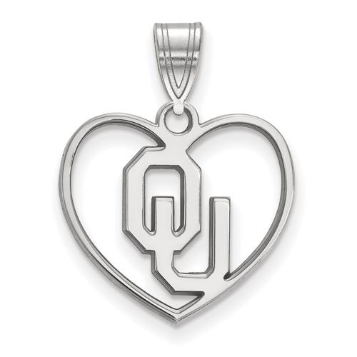 Sterling Silver 5/8in University of Oklahoma Pendant in Heart