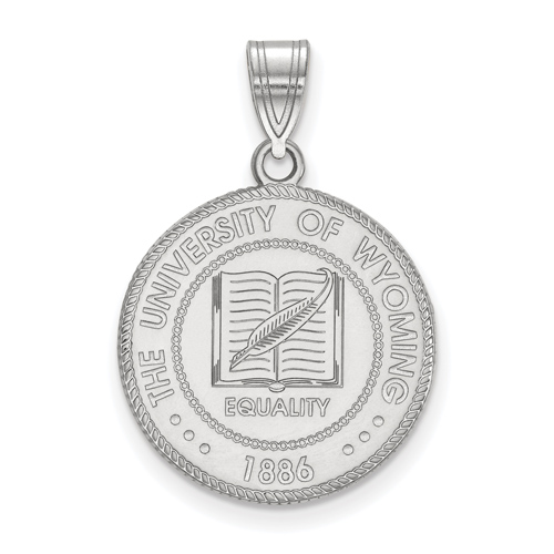 Sterling Silver 3/4in University of Wyoming Crest Disc Pendant