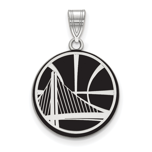 Sterling Silver Golden State Warriors 3/4in Enamel Pendant