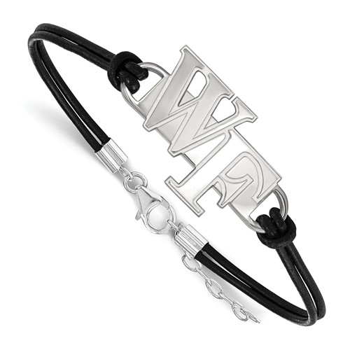 Wake Forest University Leather Bracelet Sterling Silver