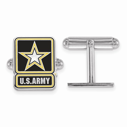Sterling Silver United States Army Epoxy Cuff Links