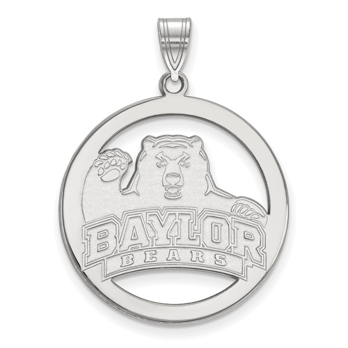 Sterling Silver 1in Baylor University Logo Pendant in Circle