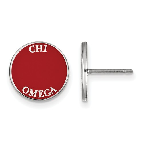 Sterling Silver Chi Omega Red Enamel Disc Earrings