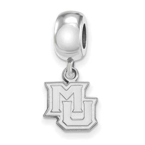 Marquette University MU Extra Small Dangle Bead Sterling Silver
