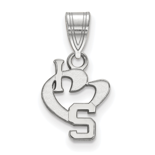 Sterling Silver 1/2in I Love Michigan State University Pendant