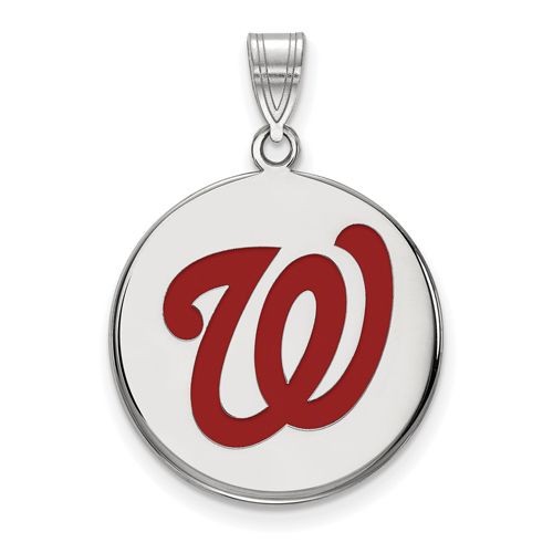 Sterling Silver 3/4in Washington Nationals Enamel Pendant