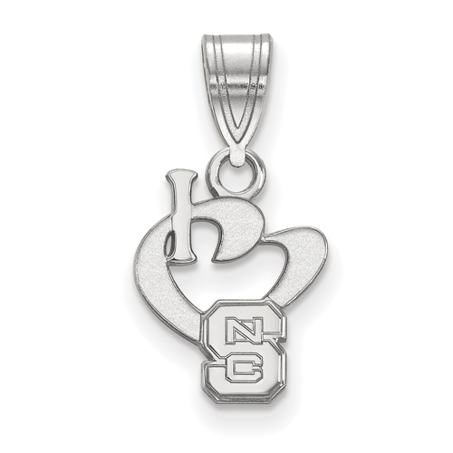 Sterling Silver 1/2in I Love North Carolina State University Pendant