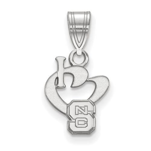 Sterling Silver 1/2in I Love North Carolina State University Pendant