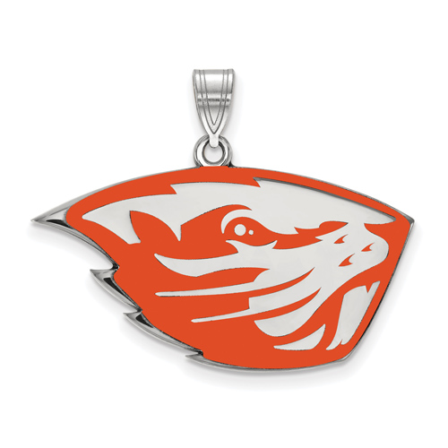 Sterling Silver 3/4in Oregon State University OSU Enamel Pendant