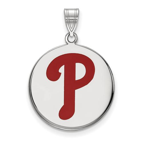 Sterling Silver 3/4in Round Philadelphia Phillies Enamel Pendant