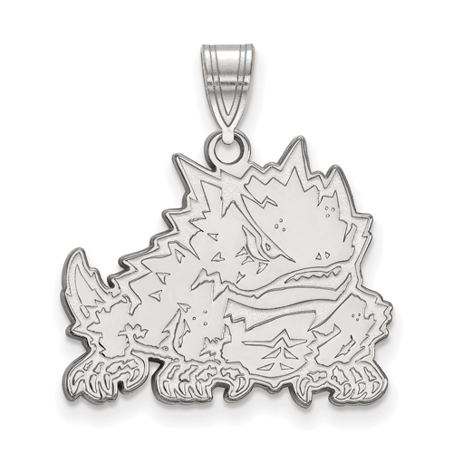 Sterling Silver 5/8in Texas Christian University Horned Frog Pendant