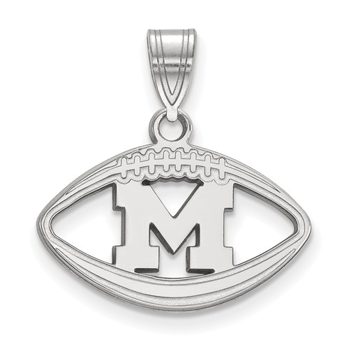 Sterling Silver 3/4in University of Michigan Football Pendant
