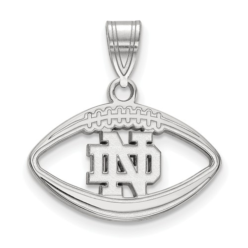 Sterling Silver 1/2in Notre Dame Football Pendant