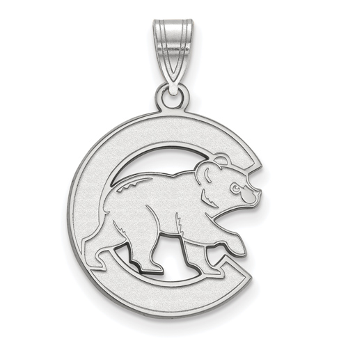 Sterling Silver 3/4in Chicago Cubs Walking Cub Laser-cut Pendant