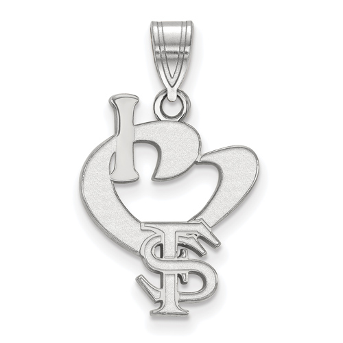 Sterling Silver I Love Florida State University Logo Pendant