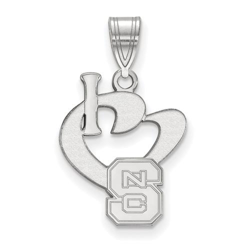Sterling Silver 5/8in I Love North Carolina State University Pendant