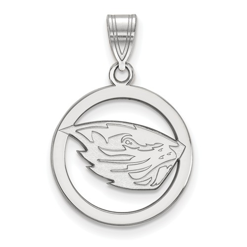 Sterling Silver 5/8in Oregon State University Pendant in Circle