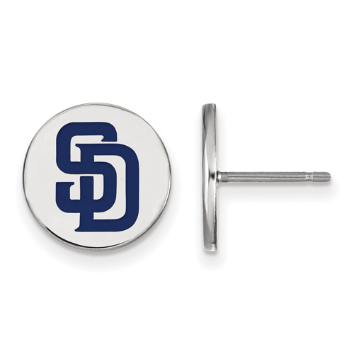 Sterling Silver San Diego Padres Small Enamel Post Earrings