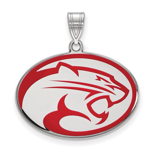 Sterling Silver 3/4in University of Houston Cougars Oval Enamel Pendant