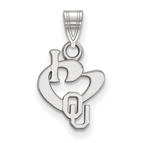 Sterling Silver 1/2in I Love University of Oklahoma Logo Pendant